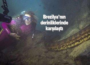 Brezilya'da dalış yaptı 8 metrelik anakonda ile karşı karşıya kaldı! Korku dolu anlar böyle görüntülendi