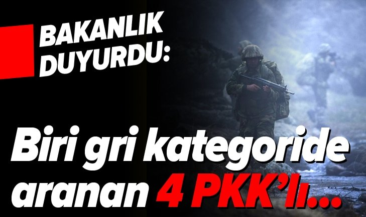 MSB: BİRİ GRİ KATEGORİDE ARANAN 4 PKK'LI...