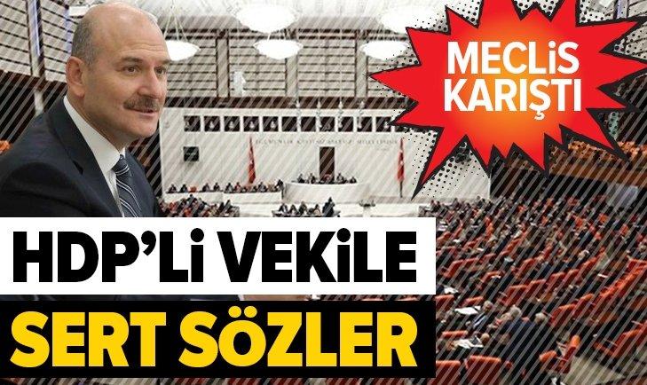 MECLİS KARIŞTI! BAKAN SOYLU, HDP'Lİ VEKİLİN AĞZININ PAYINI VERDİ