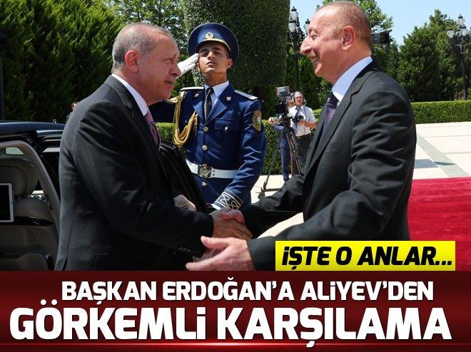 Başkan Erdoğan Aliyev tarafından resmi törenle karşılandı