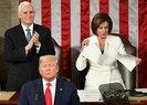 ABDde gergin anlar: Trump, Pelosi'nin elini sıkmadı! Pelosi de konuşma metnini yırttı