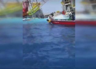 Deniz platformu yan yattı: 4 kişi kayıp