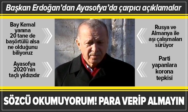 Başkan Erdoğan Ayasofya Camii'nde