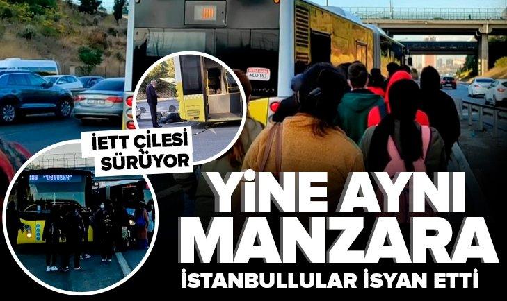 Son dakika: Yine aynı manzara yine İstanbul! İETT otobüslerinden biri arızalandı diğerinin balataları yandı