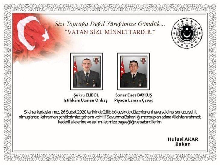 Başkan Erdoğan'dan şehitler için başsağlığı mesajı 1
