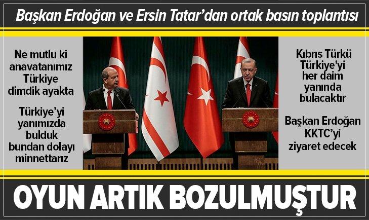 Başkan Erdoğan ile Ersin Tatar'dan önemli açıklamalar