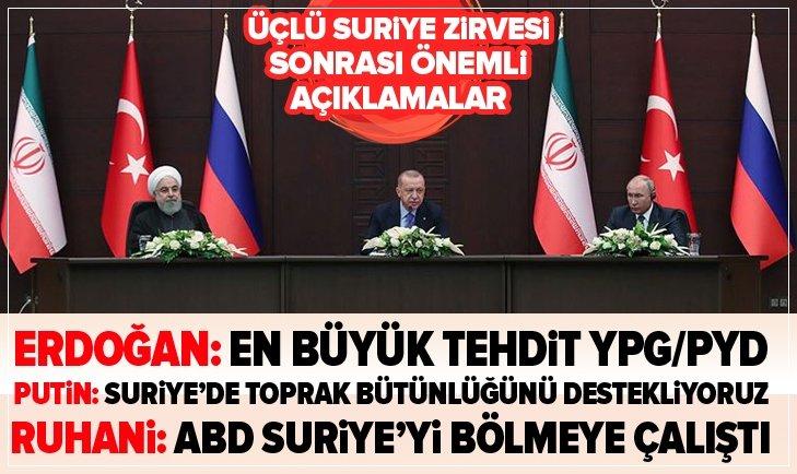Erdoğan, Putin ve Ruhani'den çok kritik mesajlar