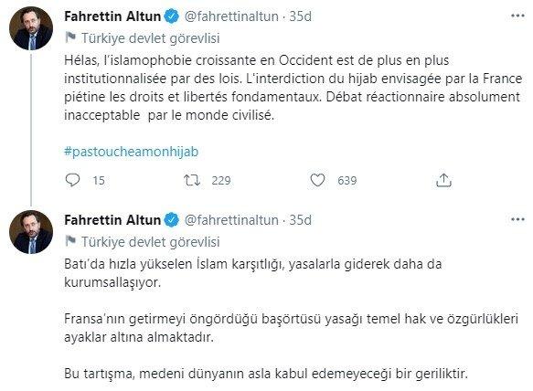 """İletişim Başkanı Fahrettin Altun'dan Fransa'ya """"başörtüsü yasağı"""" tepkisi"""