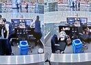 İstanbul depremiyle ilgili yeni görüntü! THY görevlisi yolcuyu böyle korudu...