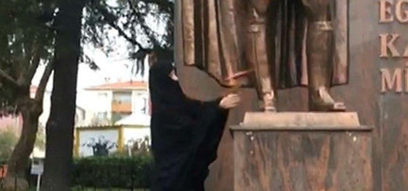 ÇORLU'DA ATATÜRK HEYKELİNE SALDIRAN BALTALI KADIN BİPOLAR ÇIKTI