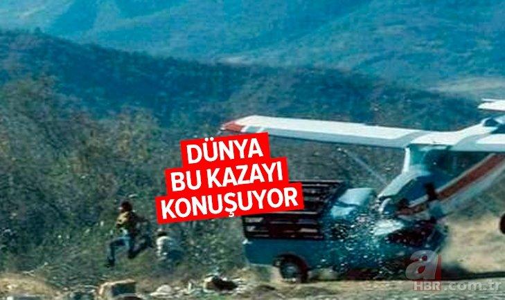 Uçak kamyonete çarptı dünya bu kazayı konuşuyor! Görenler hayrete düştü