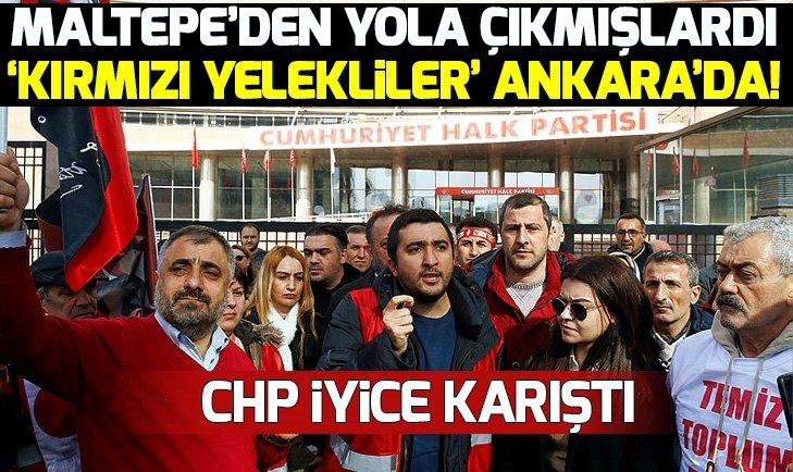 CHP Genel Merkezi önünde 'kırmızı yelekliler'den protesto