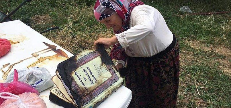 EVİ YANAN YAŞLI KADIN ÖNCE KUR'AN-A BAKTI!