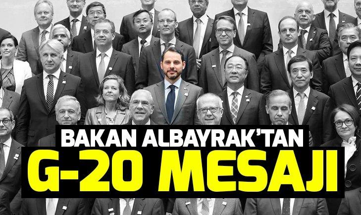 Son dakika: Bakan Albayrak'tan G-20 mesajı